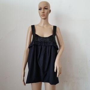 Vera Wang Wool & Silk Beaded Black Top,Sz.10